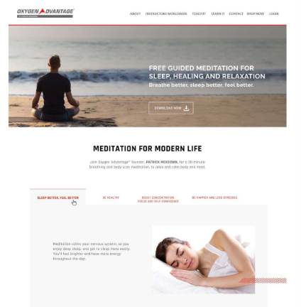 A landing page for a meditation download that I worked on as a meditation copywriter