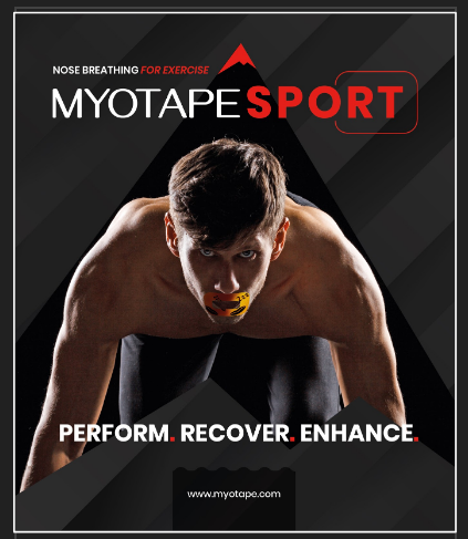 Product packaging for Myotape sport, a mouth tape for nasal breathing during sports
