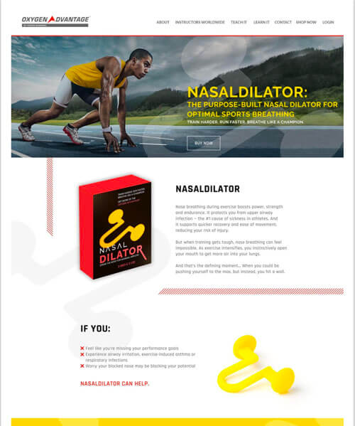 A sales landing page for a nasal dilator breathwork product