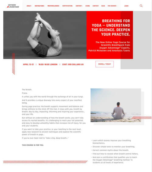 Landing page for a yoga course that I worked on as a breathwork copywriter